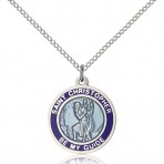 St. Christopher round medal with blue border