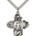 St. Sebastian Five Way Sterling Silver Religious Medal Necklace
