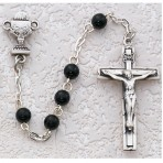 "Black glass communion rosary with sterling silver chalice and centerpiece ""`"