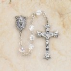 Sterling Silver First Communion Rosary (aurora borealis beads)