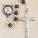 First Communion Rosary (brown beads)