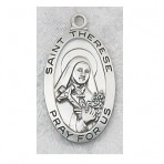 St. Therese Little Flower sterling silver oval medal
