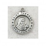 St. Therese Little Flower round sterling silver medal